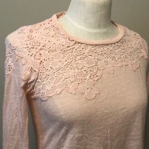 Rebecca Taylor size S pink lace long sleeve shirt